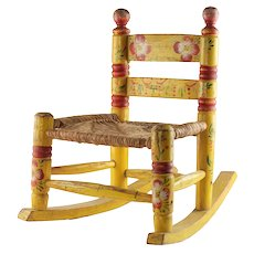 Vintage Mexican Folk Art Tole Painted Child's Wood Rocking Chair and Woven Wicker Seat