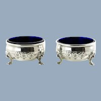 Vintage Sterling Silver Salt Cellars with Cobalt Blue Glass Inserts Set of Two