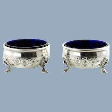 Vintage Sterling Silver Salt Cellars with Cobalt Blue Glass Inserts Set of Two