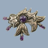 Large Vintage Sterling Silver Floriform Brooch Pin with Amethyst Cabochons Circa 1940's