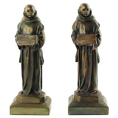 Vintage Pompeian Bronze Electroformed Bronze Clad Studious Monk Bookends
