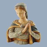 Vintage Hand Painted Ceramic Bust Renaissance Motif