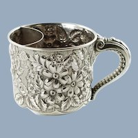 Antique Gorham Sterling Silver Repousse Shaving Mustache Cup with Elephant Trunk Handle