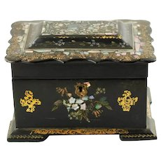 Antique Gilded Victorian Papier Mache Double Compartment Tea Caddy with Inlaid Abalone