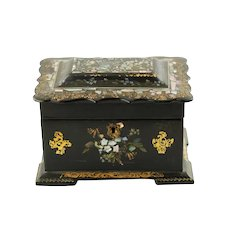 Antique Gilded Victorian Papier Mache Double Compartment Tea Caddy with Inlaid Abalone and Gilt Decoration