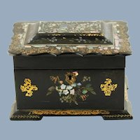 Antique Gilded Victorian Papier Mache Tea Caddy with Inlaid Abalone and Gilt Decoration