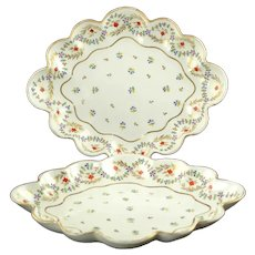 Antique Late 18th Century Crown Derby Duesbury Porcelain Hand Painted Gilded Cornflower Scalloped Bowls