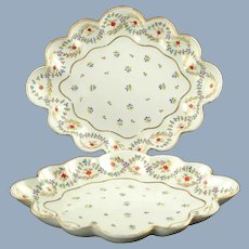 Antique Early 18th Century Crown Derby Duesbury Porcelain Hand Painted Gilded Cornflower Scalloped Bowls