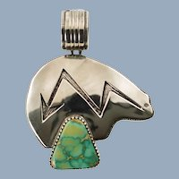 Vintage Navajo Artie Yellowhorse Royston Turquoise Sterling Silver Bear Pendant
