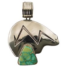 Vintage Navajo Artie Yellowhorse Royston Turquoise Sterling Silver Bear Pendant