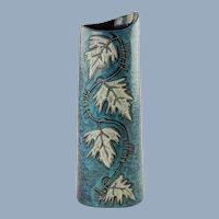 Vintage Italian Mid Century Lava and Mottled Blue Green Glaze Vase with Leaf Motif