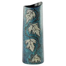 Vintage Italian Mid Century Lava and Mottled Blue Green Glaze Vase with Leaf Motif