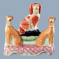 Antique English Staffordshire Figural Dog Grouping Including Cavalier King Charles Spaniel and Whippets