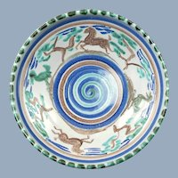 Vintage Edgar Littlefield Glazed Earthenware Bowl Horse and Bird Motif Circa 1943