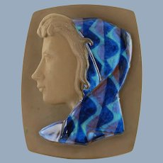 Vintage Johannes Hedegaard for Royal Copenhagen Aluminia Pigehoved Girl with Scarf Relief Plaque