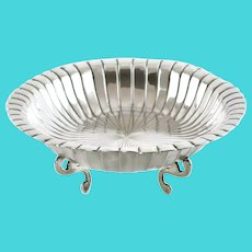 """Vintage Maciel Mexico Sterling Silver Footed Dish with Fluted Decoration 9"""" x 12"""""""