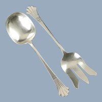 Antique Richard Blanchard Handwrought Sterling Silver Lady Dorothy Serving Fork and Spoon