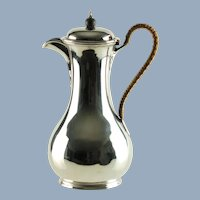Antique Edwardian Sterling Silver Teapot with Rattan Wrapped Handle Israel Sigmund Greenberg