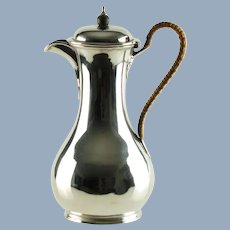 Antique Edwardian Sterling Silver Teapot with Rattan Wrapped Handle Israel Sigmund Greenberg 1904