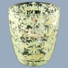 Vintage Vittorio Zecchin for S.A.L.I.R. Venetian Glass Cup Canine and Foliate