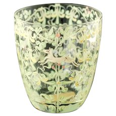 Vintage Vittorio Zecchin Renaissance Revival Canine and Foliate Enameled Venetian Glass Cup