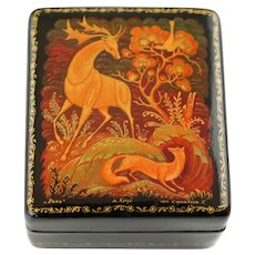 Vintage Hand Painted Soviet Era Kholui Russian Lacquer Papier Mache Box The Hind Artist