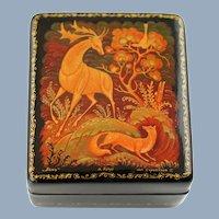 Vintage Hand Painted Soviet Era Kholui Russian Lacquer Papier Mache Box The Hind Artist