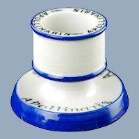 Vintage Apollinaris Blue and White European Ceramic Match Striker Keeper