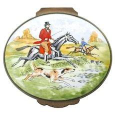 Vintage Crummles & Co. England Lidded Oval Trinket Box Hunt Scene