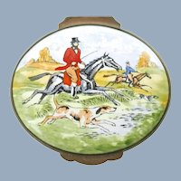 Vintage Crummles & Co. England Lidded Oval Trinket Box Hunt Scene with Hand Painted Accents