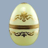 Large Vintage Opaline Art Glass Hinged Egg Box with Gilt Decoration