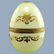 Large Vintage Opaline Art Glass Hinged Egg Box with Gilt Decoration