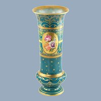 Antique Hand Painted Royal Bonn Porcelain Gilded Vase with Floral Motif 69