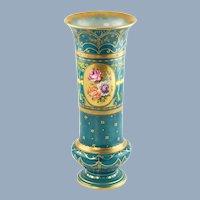 Antique Hand Painted Royal Bonn Porcelain Gilded Vase with Floral Motif 69