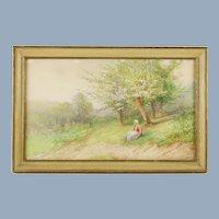 Vintage Original Victor Casnelli Watercolor Springtime Pastoral Scene featuring Breton Woman