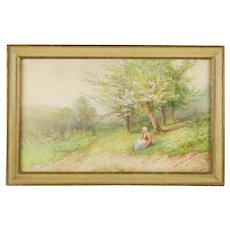 Vintage Original Victor Casnelli Watercolor Springtime Pastoral Scene featuring a Breton Woman with a Rake