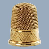 Vintage 18k Gold Thimble James Swann & Son retailed by Birks Jewelers Size 5