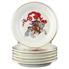 "Vintage Gucci Red Knight Fine Bone China 5.125"" Plates in Original Presentation Box Set of 6"