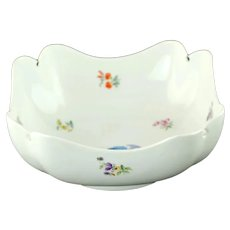 Large Antique 19th Century Meissen 4 Cornered Serving Bowl with Hand Painted Floral Motif