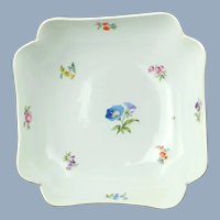 Large Antique 19th Century Meissen Four Cornered Serving Bowl with Hand Painted Floral Motif