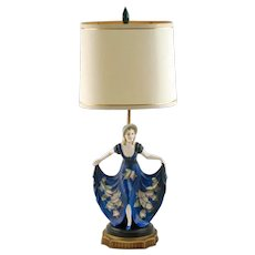 Vintage Stefan Dakon for Goldscheider Congress Lilian Harvey Hand Painted Porcelain Art Deco Lady Table Lamp