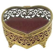Vintage Matson Gilt Filigree Heart Shaped Jewelry Casket with Red Velvet Lining and Beveled Glass Hinged Lid