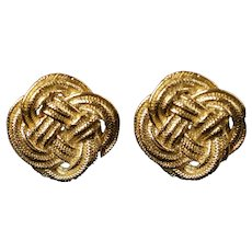Vintage Givenchy Paris New York Knot Motif Gold Tone Clip Back Earrings