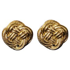 Large Vintage Givenchy Paris New York Knot Motif Gold Tone Clip Back Earrings
