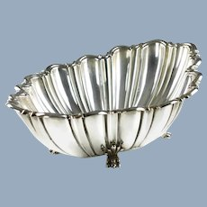 Vintage Reed and Barton Sterling Silver Footed Oval Centerpiece Console Bowl with Scalloped Edge