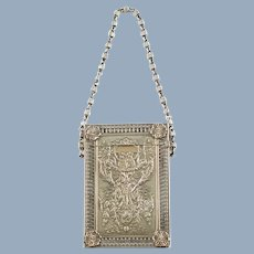 Antique Gorham Sterling Silver Calling Card Case Purse with Fancy Link Chain Handle