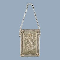 Antique Gorham Sterling Silver Repousse Calling Card Case Purse with Fancy Link Chain Handle
