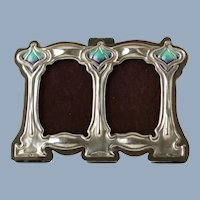 Antique Art Nouveau Sterling Silver Twin Photograph Frame with Enamel Accents