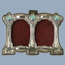 Antique Art Nouveau Sterling Silver Twin Photograph Frame with Enamel Accents