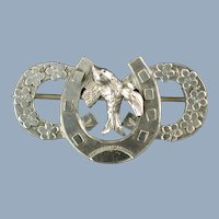 Antique James Swann Victorian Sterling Silver Sweetheart Brooch with Horseshoes and Bird Motif